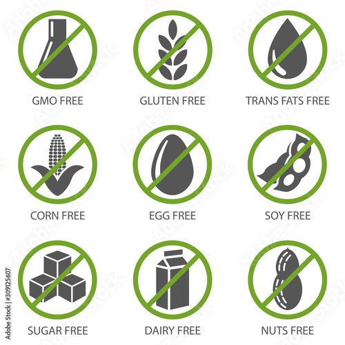Set of food diet labels of GMO-free, sugar-free and allergen-free products Canvas Print