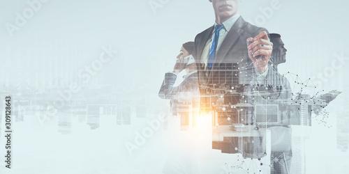 Fototapeta Business team concept. Mixed media obraz na płótnie