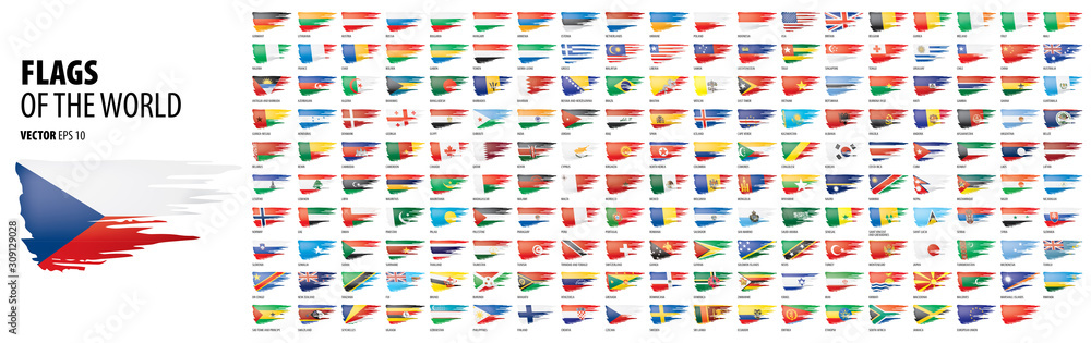 Fototapeta National flags of the countries. Vector illustration on white background - obraz na płótnie