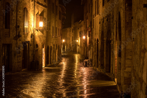Night in a medieval town