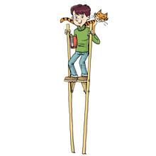 School Boy On High Stilts With...