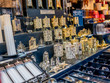 Selective focus of intricate and delicate Christmas decorations on display for sale at the 2019 Christmas market in Aachen, Germany