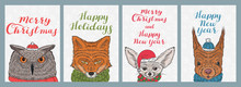 Christmas And New Year Cards With Animals In Winter Hats And Scarves