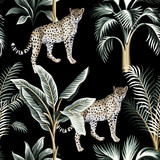 Tropical vintage botanical banana tree, leopard floral green palm leaves seamless pattern black background. Exotic jungle wallpaper. - 309138603