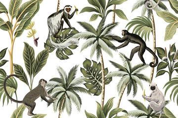 Panel Szklany Egzotyczne Tropical vintage monkey, palm trees, banana tree floral seamless pattern white background. Exotic jungle wallpaper.