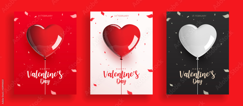 Fototapeta Set of Valentine's Day, balloons with rope and confetti. Design for poster banner card, Realistic vector illustration.
