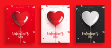 Set Of Valentine's Day Balloon With Confetti Vector Illustration