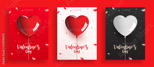 Fototapeta Set of Valentine's Day, balloons with rope and confetti. Design for poster banner card, Realistic vector illustration. obraz