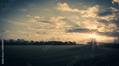 sunbeams of sunrise in the countryside Canvas Print