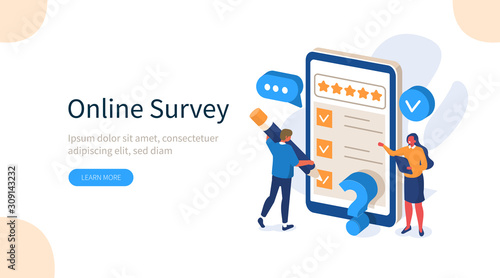 Obraz na plátně People Characters Filling Test Online in Customer Survey Form