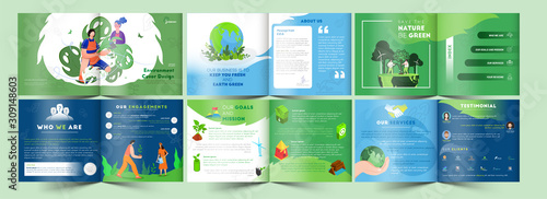 Bi-Fold Brochure, Template or Cover Design Set in Different Platform of Save The Earth Concept.
