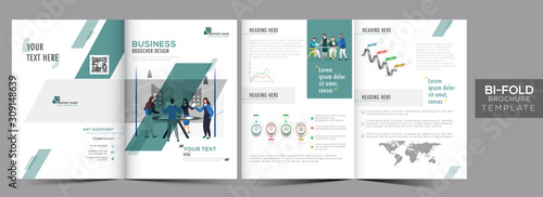 Cuadros en Lienzo Front and Back View of Bi-Fold Brochure Template Layout or Annual Report for Business Progress Concept