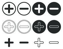 Plus And Minus Icon Shape Button Set. Add, Zoom, Cross, Positive Logo Symbol. Cancel, Delete, Exit Negative Line Sign. Vector Illustration Image. Isolated On White Background. Medical First Aid Cross.