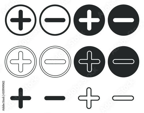 Fotomural Plus and Minus icon shape button set