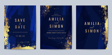 Luxury Blue And Gold Invite Card, Vector Invitation Design With Golden Brush, Gold Powder And Blue Watercolor Decoration Style Background Design For Wedding And Cover Design Template.
