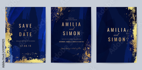 Luxury Blue and Gold invite card, Vector invitation design with golden brush, Gold Powder and blue watercolor decoration style background design for wedding and cover design template Fototapet