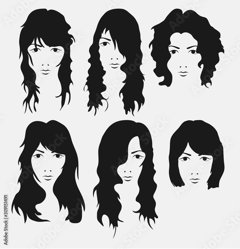 girl hairstyle and hirecut with face Wall mural
