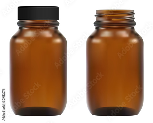 Photo Brown glass medical bottle