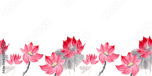 lotus in chinese ink style isolated on white background