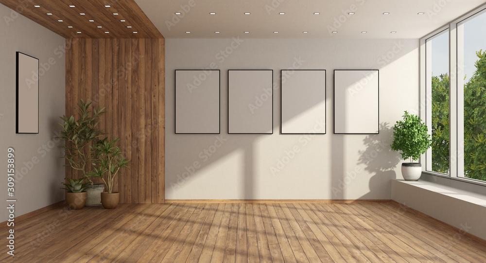 Fototapeta Empty minimalist living room with large window