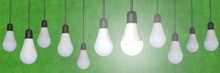 Many LED-bulbs In Panoramic Format With Green Background