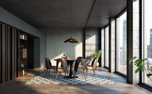 Dining Room In Loft, Industria...