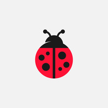 Lady Bug Vector Icon, Lady Bug Logo Design, Cute Icon, Simple Icon, Tiny Logo Icon, Red Lady Bug Sign, Cute Colorful Ladybird