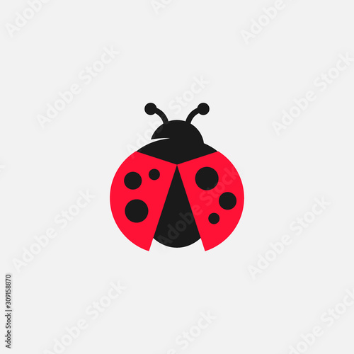 Photo Lady bug vector icon, Lady bug logo design, cute icon, simple icon, tiny logo ic