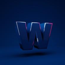 Phantom Blue 3d Letter W Lower...