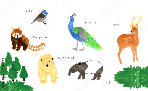 シンプルな動物のイラスト Canvas Print