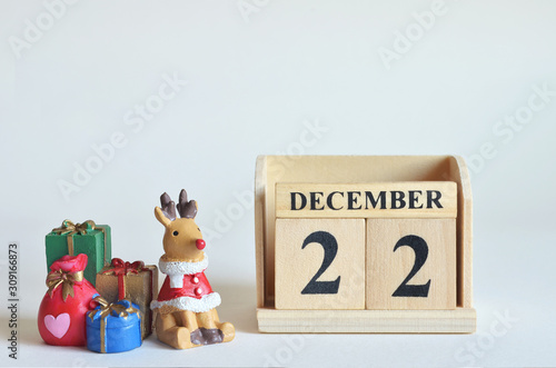 Fotografia  December 22, Christmas, Birthday with number cube design for background