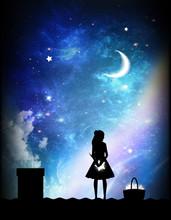 Girl Collecting Stars Silhouet...