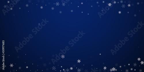 Fototapeta Sparse snowfall Christmas background. Subtle flyin obraz na płótnie