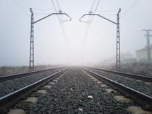 Train Tracks And Catenary Post...