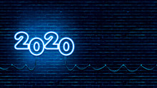 2020 New Year Neon Light Banner On Dark Brick Wall. Social Media And Website Banner Or Gift Card