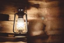 Lit-up Vintage Lantern With Shadows
