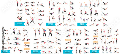 Cuadros en Lienzo  Woman workout fitness, aerobic and exercises