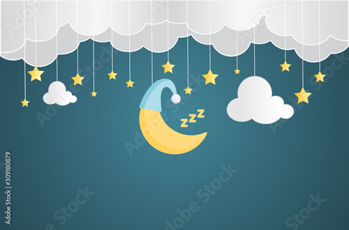 Sweet dream and Good night concept Background. Space for your text.