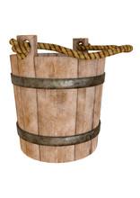 Wood Antique Old Bucket Isolat...
