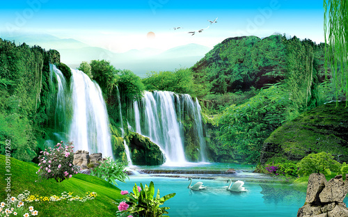 3d landscape illustration, a waterfall in a green forest, a pair of swans, sunset - 309187262