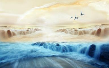 Fototapeta Optyczne powiększenie Misty mountains, sun, a flock of cranes in a beige sky