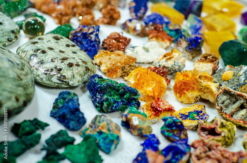 Stones and minerals  for sale in the store. Canvas Print