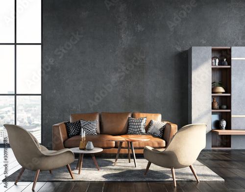 Living room interior in loft, industrial style, 3d render Fotomurales