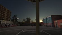 Wide Angle View Of Inner City Urban Basketball Court Nobody Is Playing 3d Render