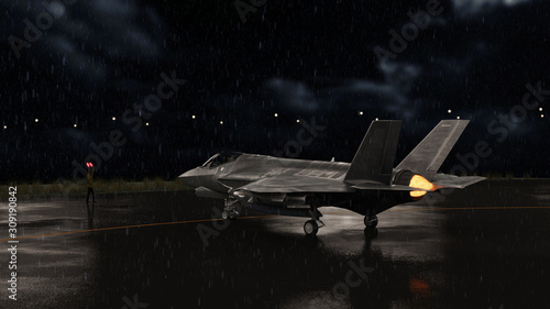 Fotografie, Tablou F-35 jet fighter moving to runway in military airbase 3d render