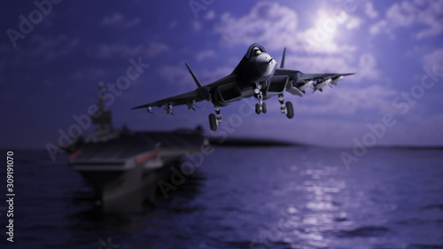 Russian jet flying away from aircraft carrier after take off 3d render Wallpaper Mural