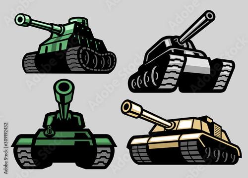 set bundle of military tank Billede på lærred