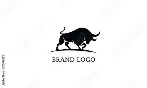 Vector image of a bull design with a white background. Logo, Symbol, Brand identity