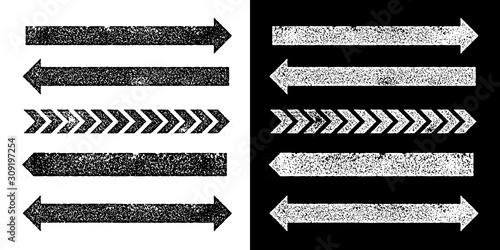 Fényképezés Set of black grunge texture arrrows