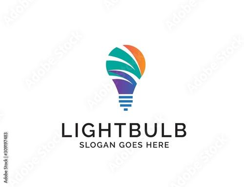 Photo Creative light bulb lamp logo. Modern icon vector graphic